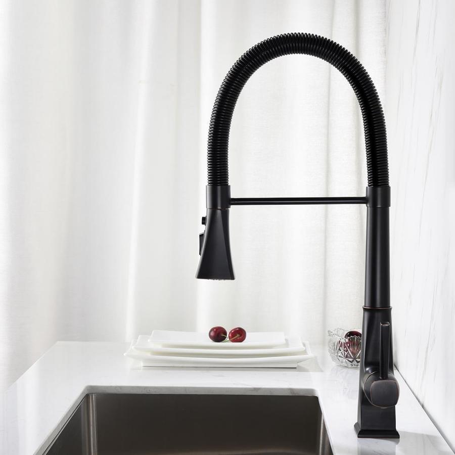 ovios kitchen faucets matte black 1 handle deck mount pull down handle kitchen faucet