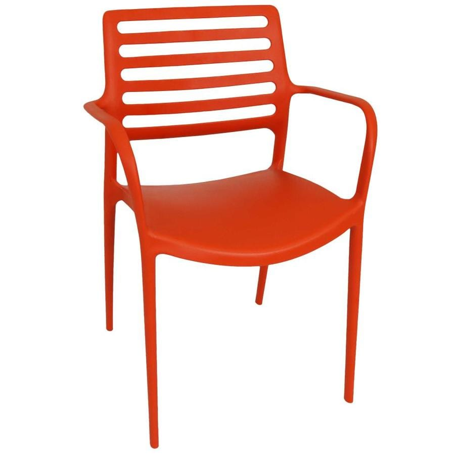 sunnydaze decor stackable orange plastic frame stationary balcony chair s with solid seat