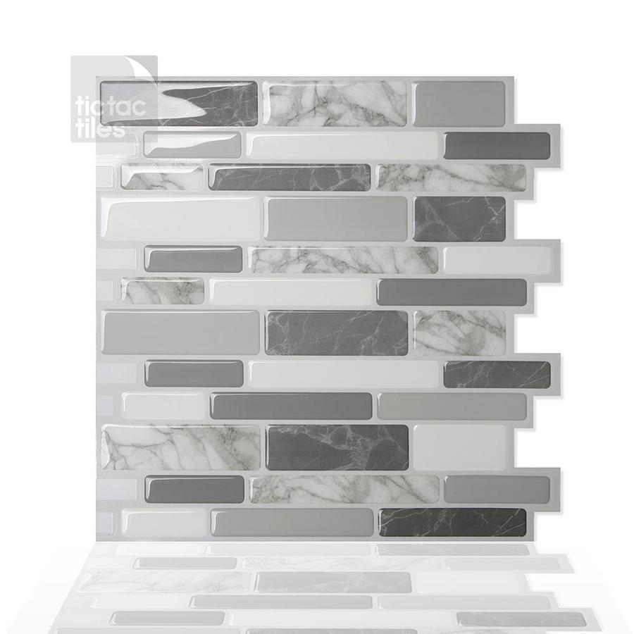 tic tac tiles polito 10 pack gray white green 12 in x 12 in glossy pvc brick stone look peel and stick wall tile