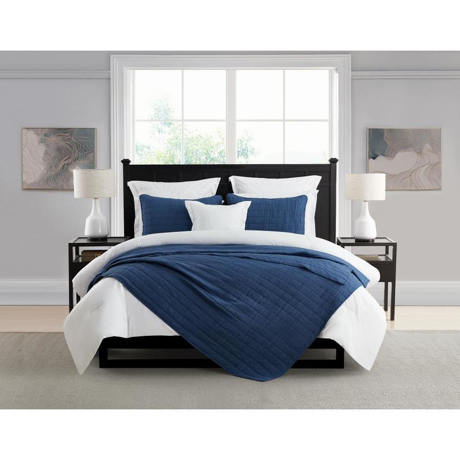 swift home enzyme washed crinkle coverlet quilt set navy solid king california king quilt microfiber in the comforters bedspreads department at lowes com