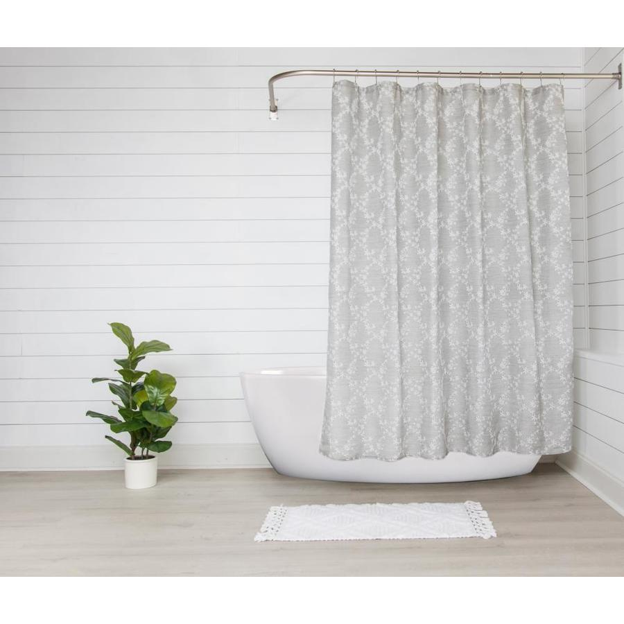 manor luxe 72 in x 72 in polyester gray floral shower liner
