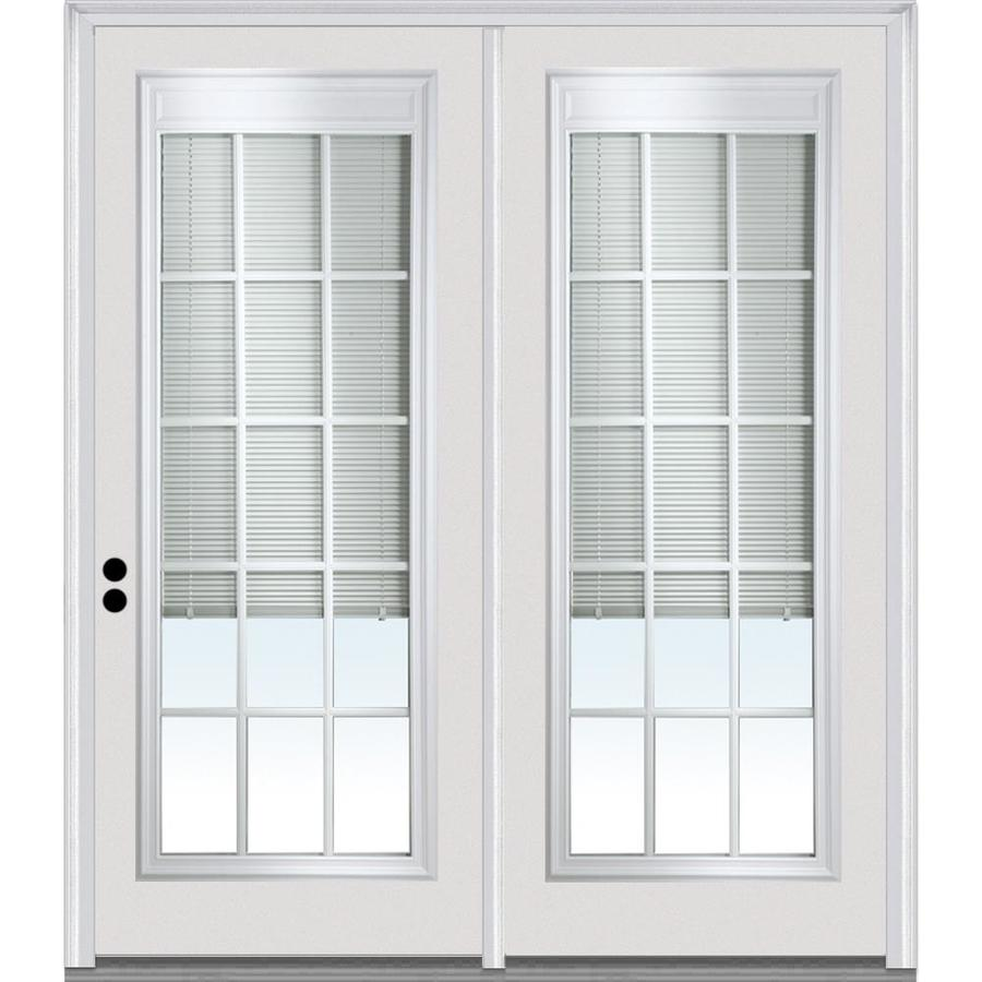 mmi door 68 5 in x 77 in internal blinds clear glass full lite right hand inswing primed steel prehung trufit patio door on 6 9 16 in frame