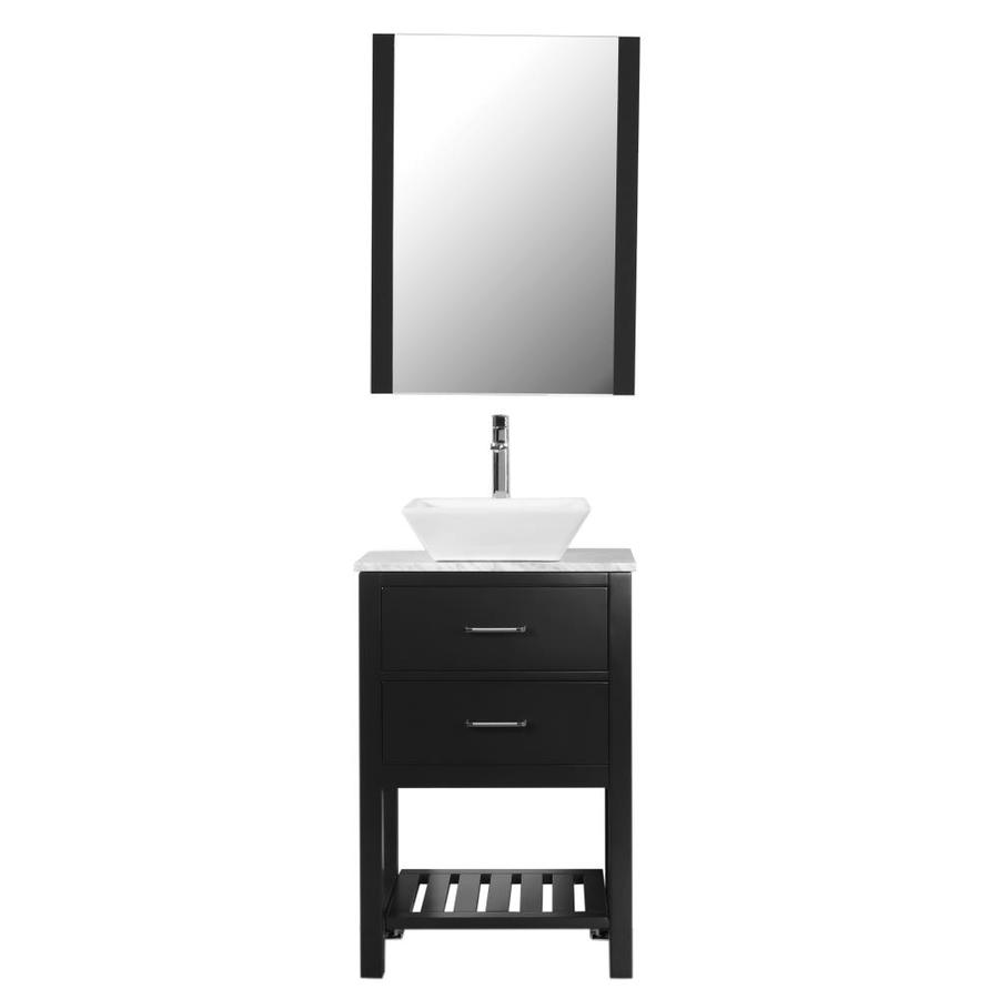 c l l collections sm 24 i bl 24 in black single sink bathroom vanity with white marble top mirror and faucet included