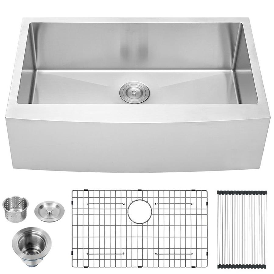casainc farmhouse apron front 21 in x 30 in stainless steel single bowl 2 hole kitchen sink