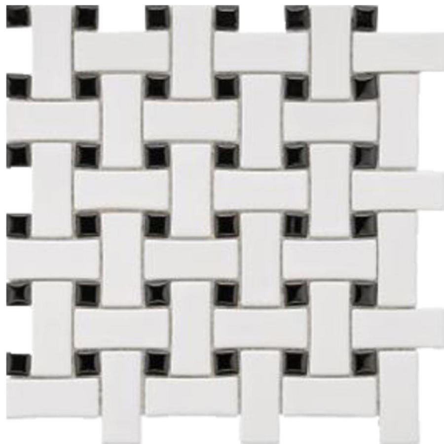 splash mosaic tile cascade 5 pack white and black 12 in x 12 in glazed porcelain basketweave floor and wall tile