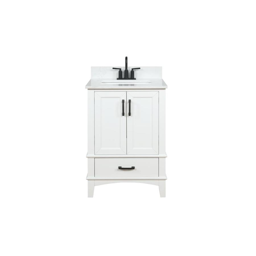 runfine emily 24 in white single sink bathroom vanity with carrara cultured marble cultured marble top lowes com