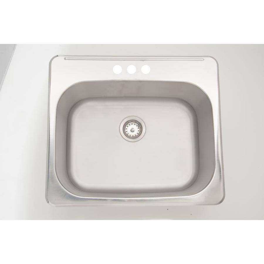 american imaginations 25 in x 22 in 1 basin stainless steel self rimming laundry sink with drain and faucet