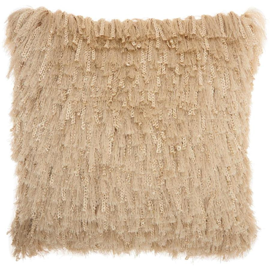 mina victory shag 20 in x 20 in off white cotton poly yarn square indoor decorative pillow in the throw pillows department at lowes com