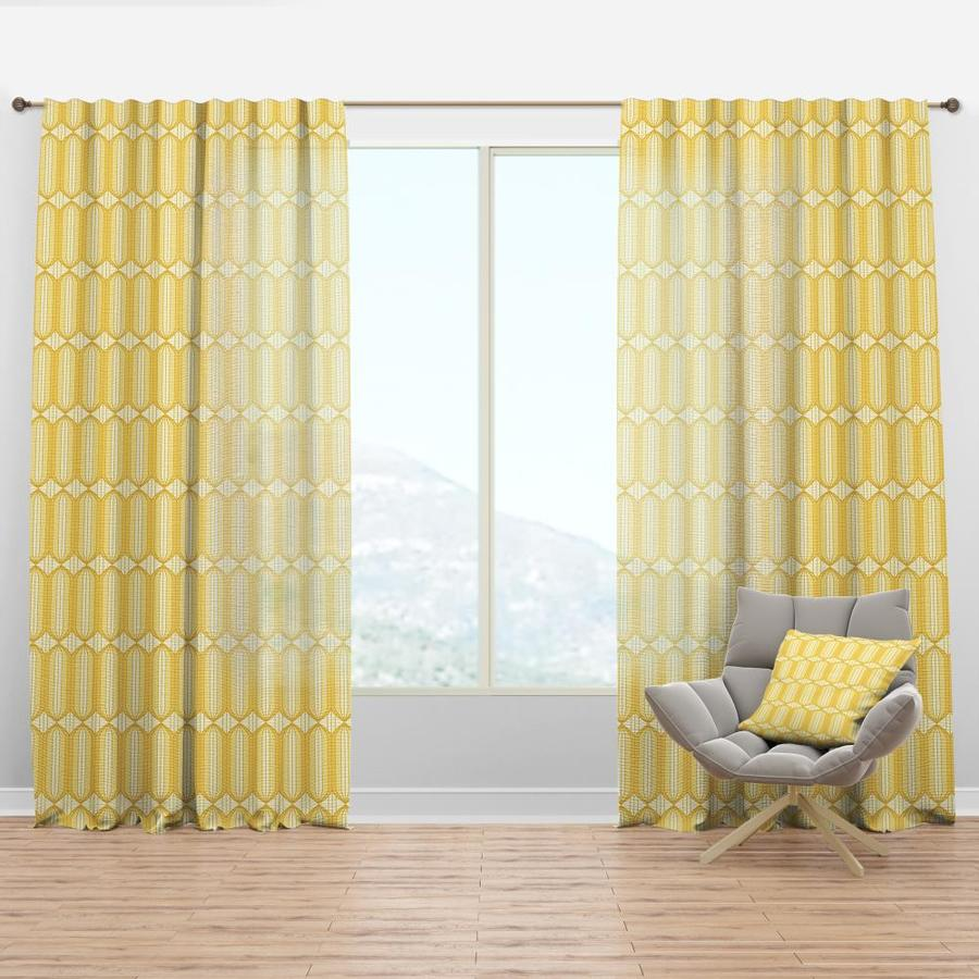 designart 120 in yellow faux linen room darkening thermal lined rod pocket single curtain panel in the curtains drapes department at lowes com