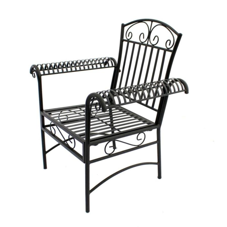 courtyard casual french quarter set of 2 black metal frame stationary dining chair s with slat seat seat