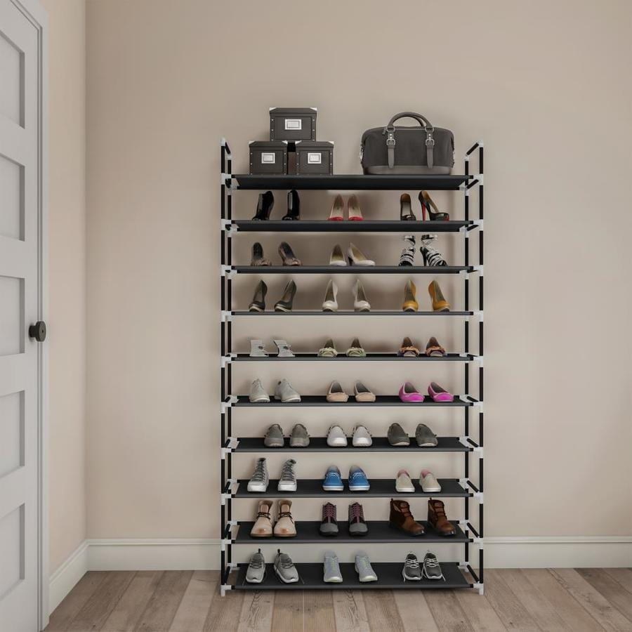 hastings home shoe rack 10 tier storage for sneakers heels flats accessories and more space saving organization for bedroom closet or garage by