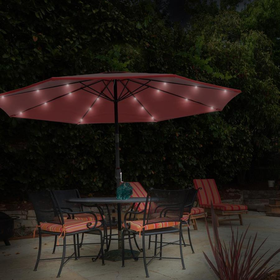 10 foot patio umbrella led lights red