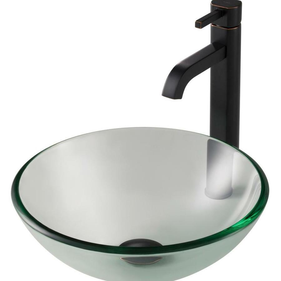 kraus kraus 14 in clear glass bathroom vessel sink and ramus faucet combo set with pop up drain oil rubbed bronze