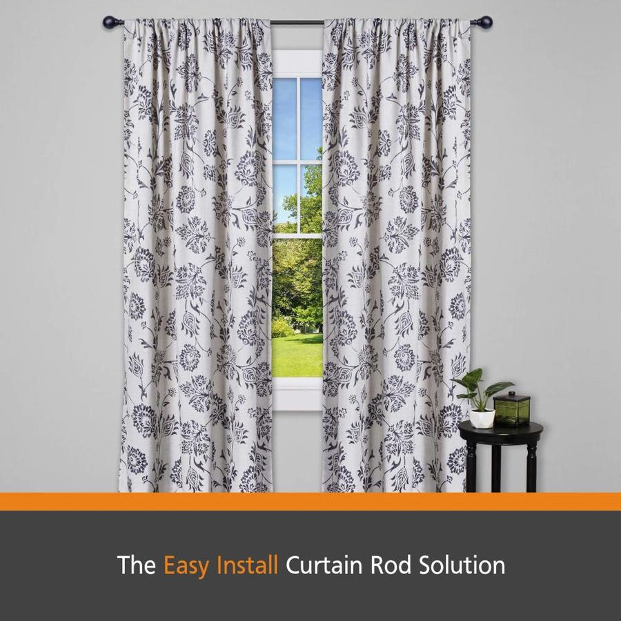 kenney fast fit easy install 66 in to 120 in black steel single curtain rod with finials in the curtain rods department at lowes com
