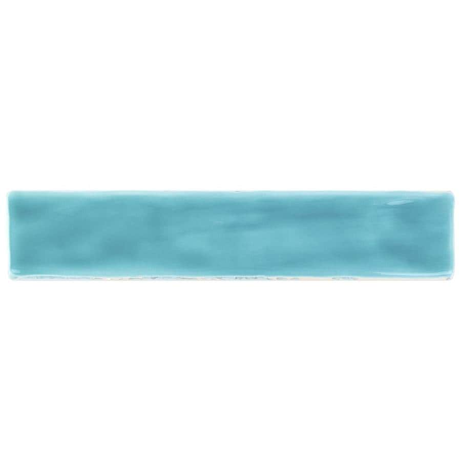artmore tile newton turquoise 2 in x 10 in polished ceramic linear brick look floor and wall tile sample