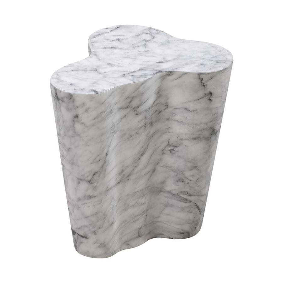 tov furniture slab white marble stone live edge end table