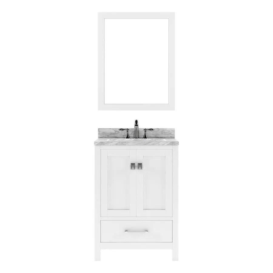 virtu usa caroline avenue 24 in white undermount single sink bathroom vanity with italian carrara white marble top mirror included