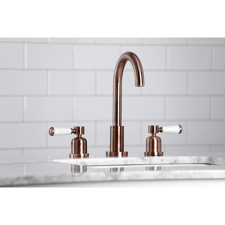 kingston brass paris antique copper 2 handle 8 in widespread bathroom sink faucet with drain