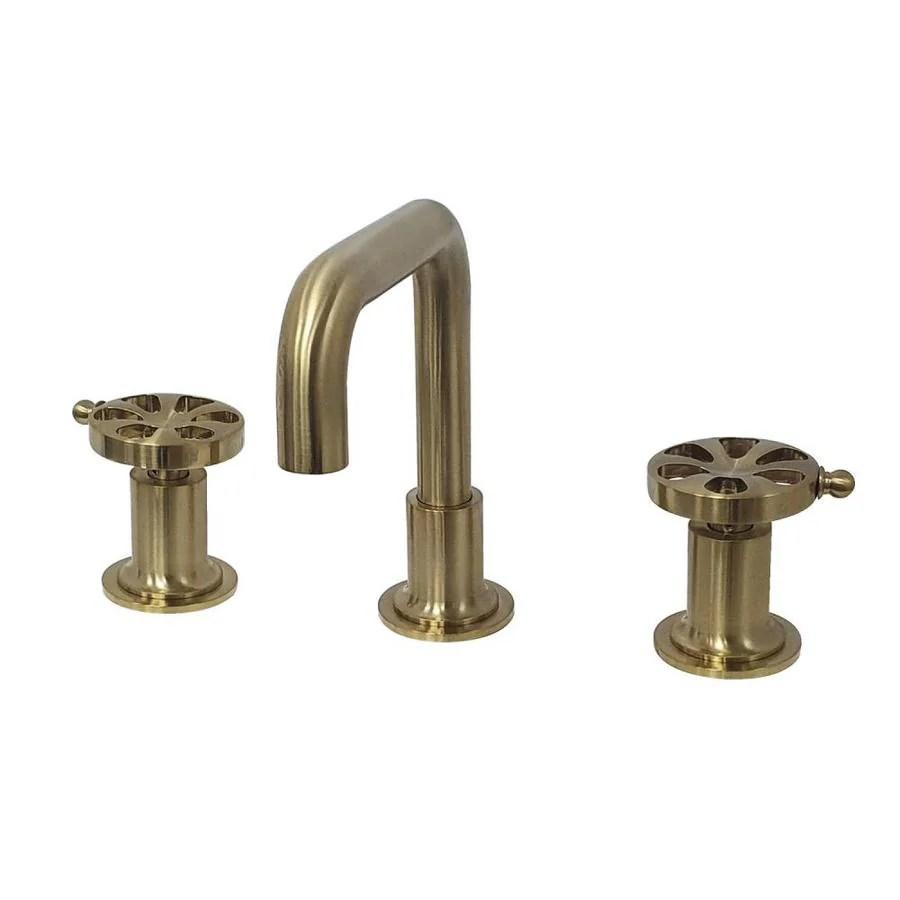 kingston brass belknap brushed brass 2 handle widespread bathroom sink faucet with drain