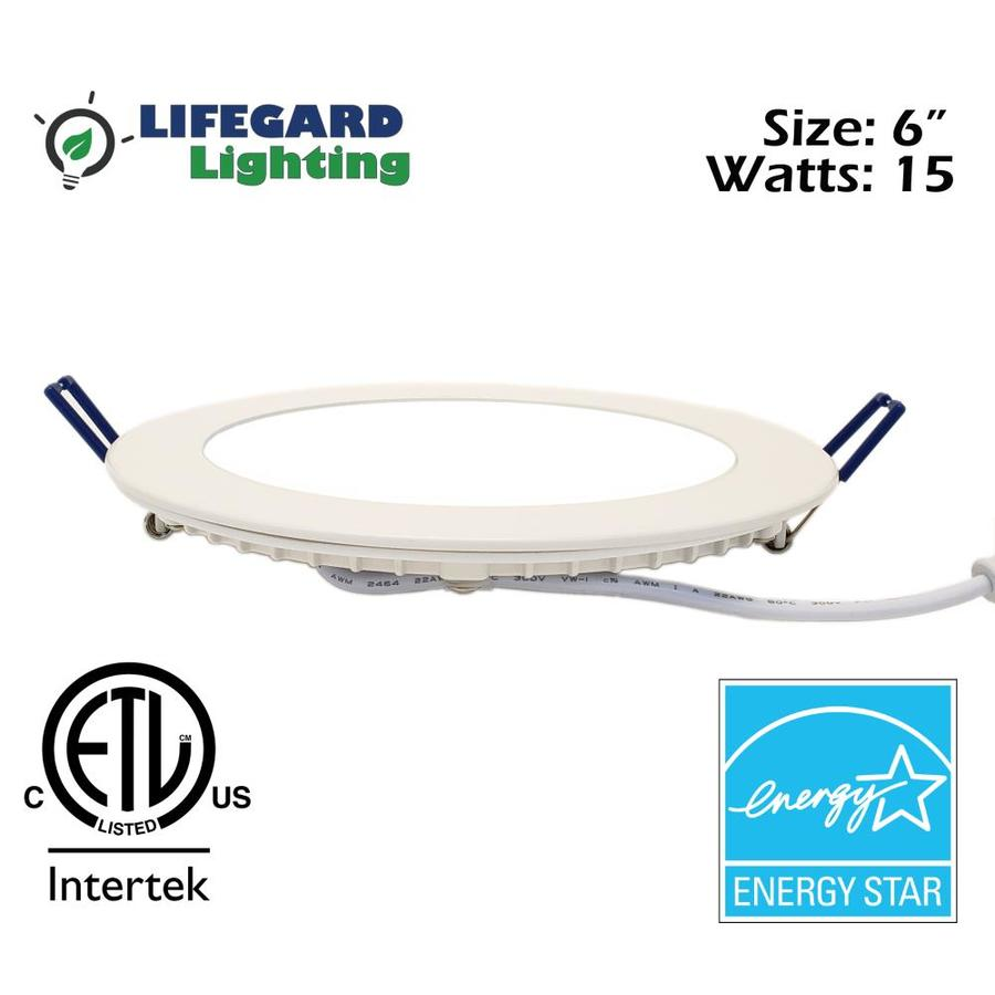 lifegard lifegard down light 6 in 65 watt equivalent white round dimmable recessed downlight in the recessed downlights department at lowes com