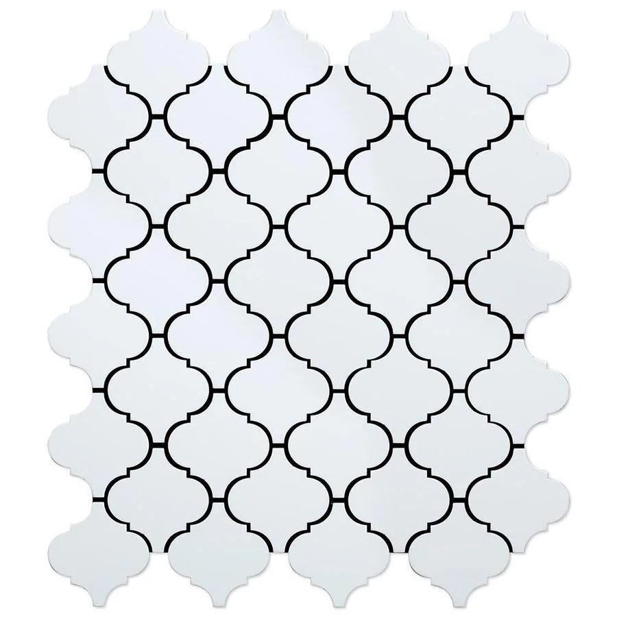 speedtiles marrakesh wh white 4 in x 4 in glazed metal lantern marble look wall tile sample