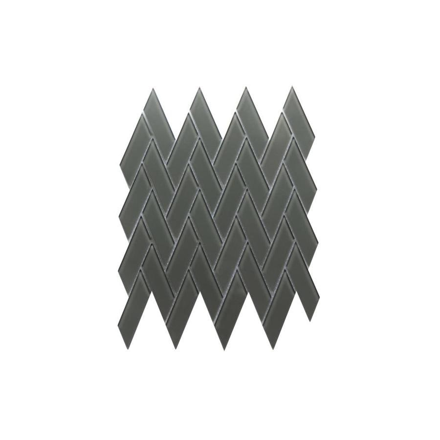 ws tiles quality value glass series 8 pack dark gray 12 in x 12 in glossy glass herringbone wall tile