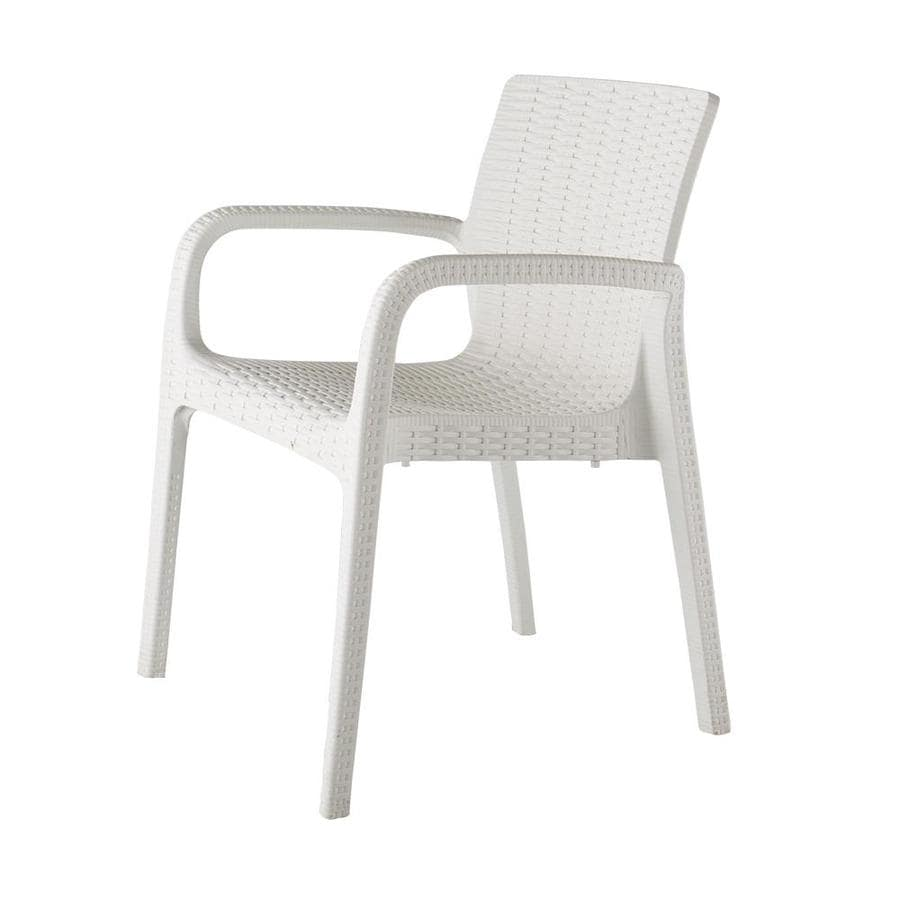 lagoon koppla set of 2 stackable white plastic frame stationary dining chair s with woven seat