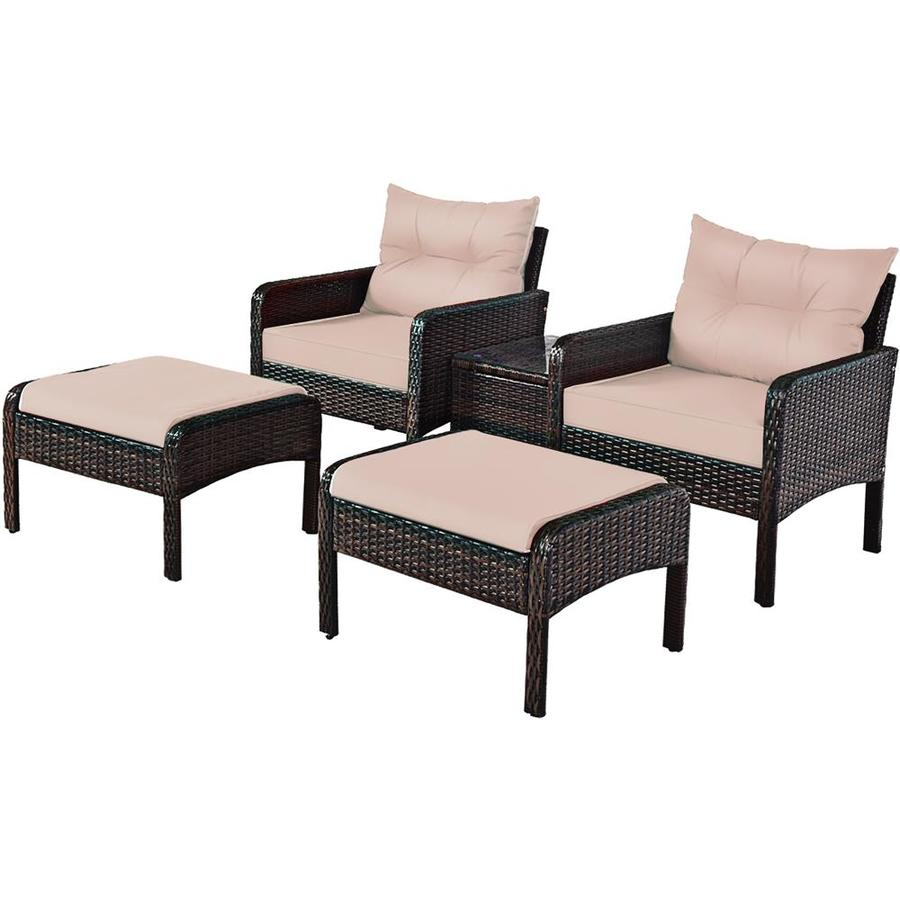 goplus 5 pcs patio rattan wicker furniture set sofa ottoman coffee table cushioned yard in the patio conversation sets department at lowes com