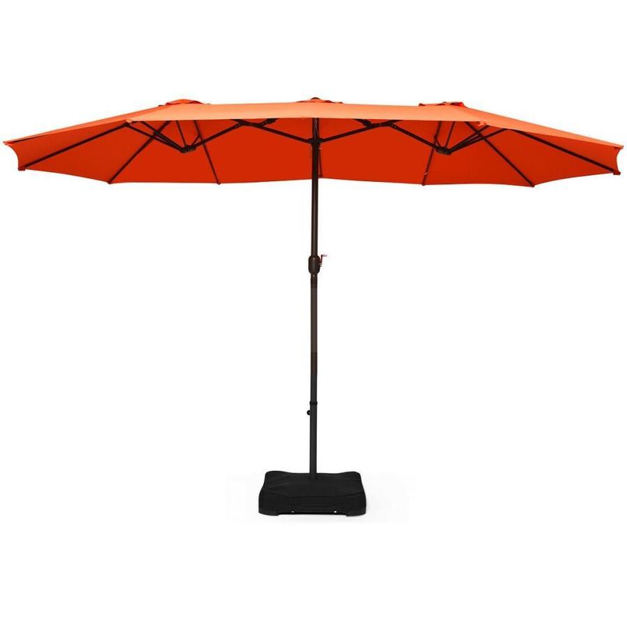 casainc 15 ft orange garden patio umbrella with base