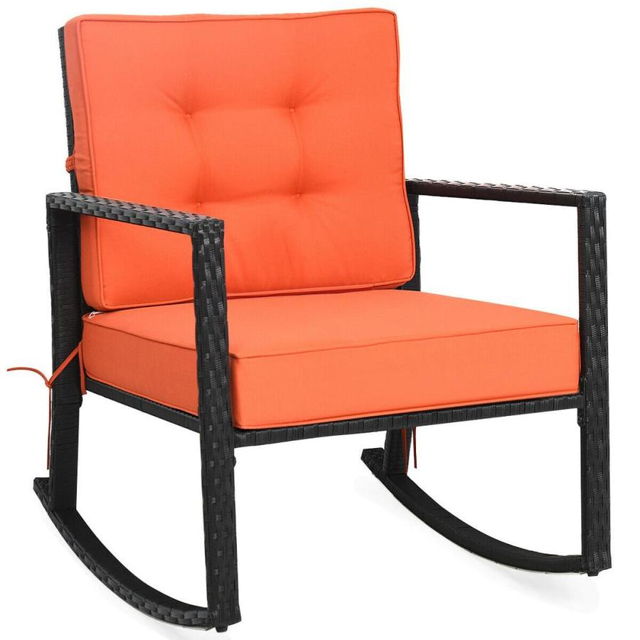casainc patio chairs rattan orange metal frame rocking chair s with cushioned seat