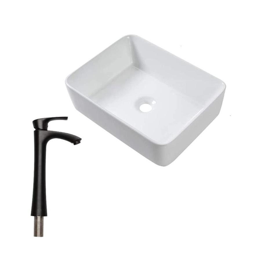 matrix decor bathroom sink white porcelain vessel rectangular bathroom sink with faucet and overflow drain 19 in x 15 in