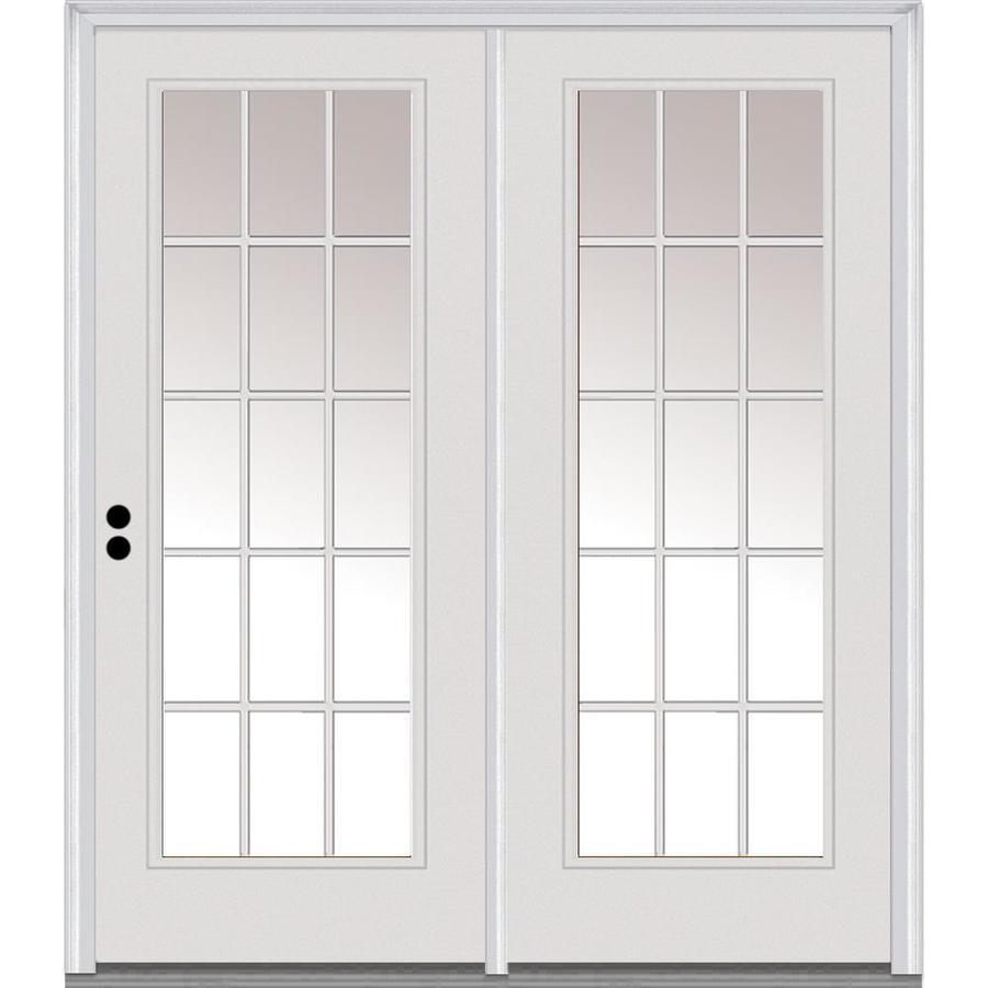 mmi door mmi door 68 in x 80 in grilles between clear glass full lite right hand inswing primed fiberglass smooth prehung patio door on 6 9 16 in