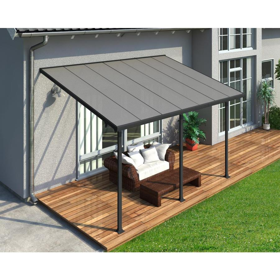 palram 10 ft x 14 ft gray clear aluminum patio cover