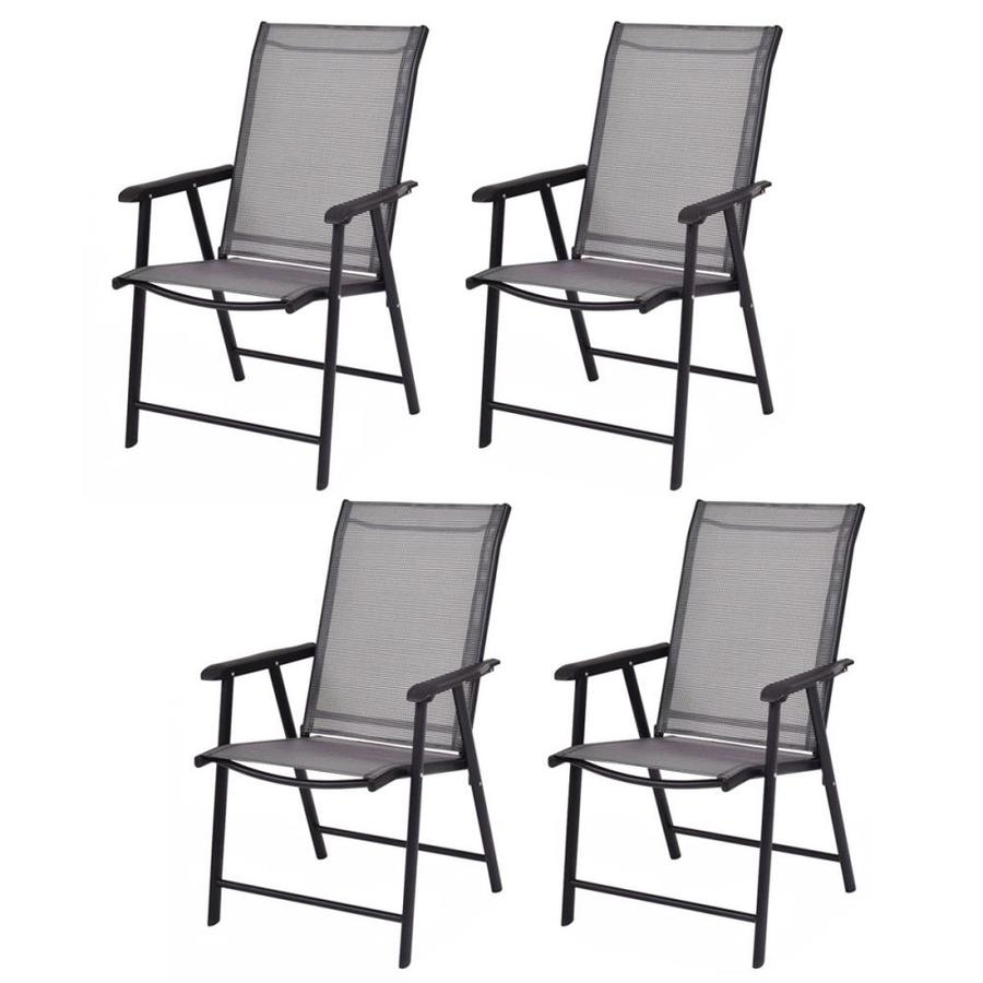 goplus costway set of 4 stackable black metal frame stationary conversation chair s with mesh seat seat