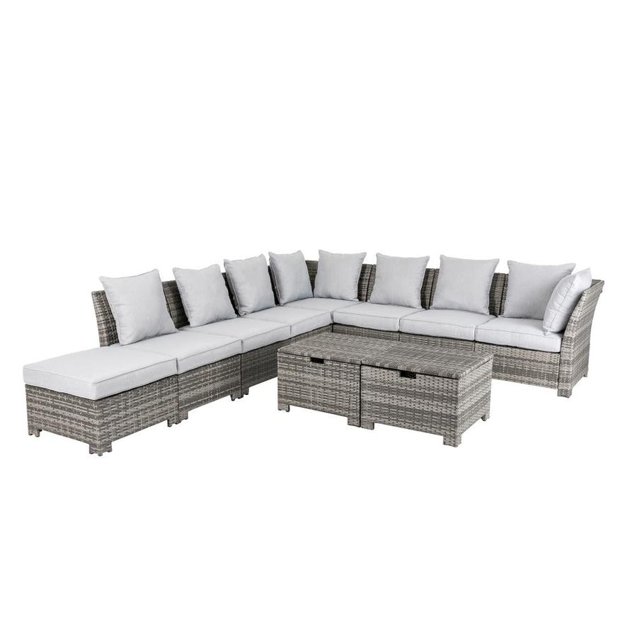 glitzhome 10 piece wood frame patio conversation set with cushion s included