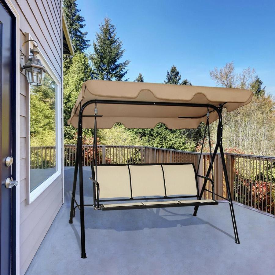 black steel frame patio swing glider