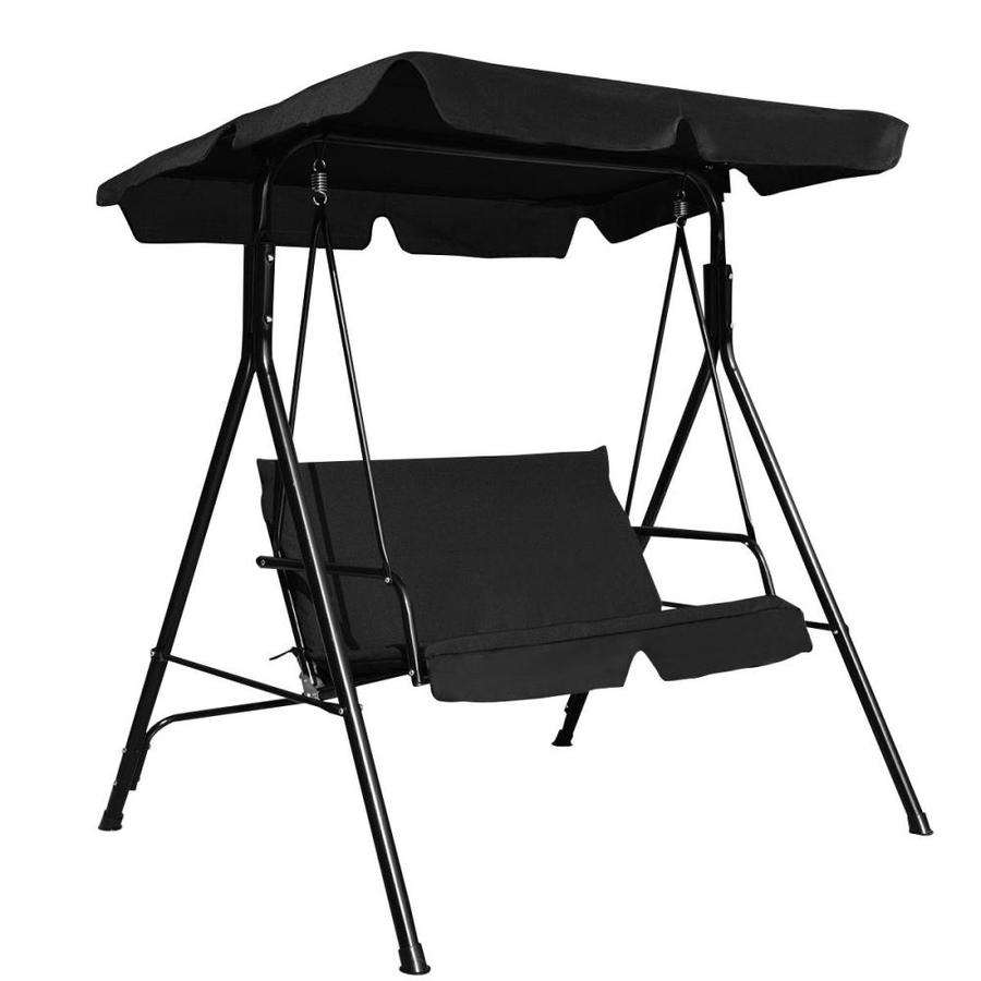 clihome 2 person black weather resistant canopy outdoor patio porch swing glider for garden