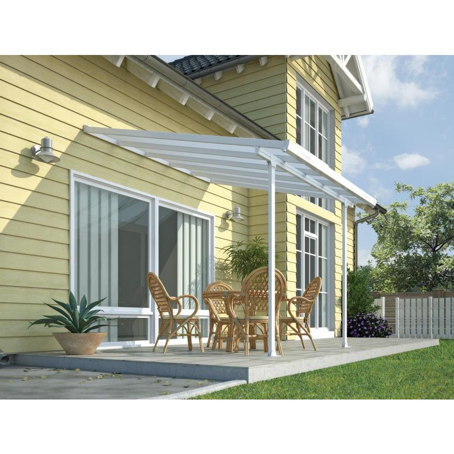 palram feria 10 ft x 10 ft white aluminum patio cover awning in the patio covers department at lowes com