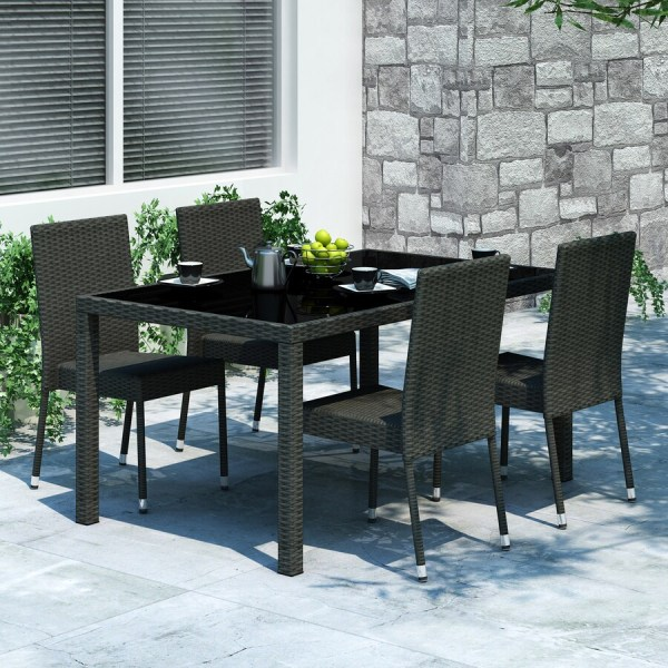 CorLiving Park Terrace 5-Piece Black Wood Frame Wicker ...