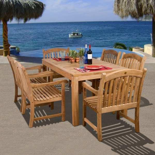 teak patio furniture sets Shop International Home Amazonia Teak 7-Piece Teak Patio