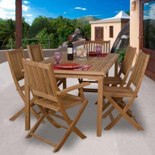 teak patio furniture sets Shop International Home Amazonia Teak 7-Piece Brown Wood