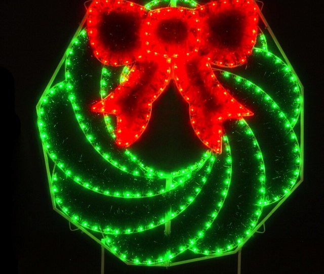 Holiday Lighting Specialists  Ft Wreath Outdoor Christmas Decoration With Led Multicolor Lights