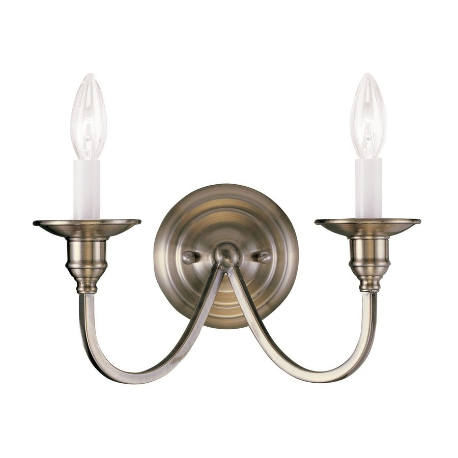 Livex Lighting Cranford 13-in W 2-Light Antique brass ... on Vintage Wall Sconces id=20820