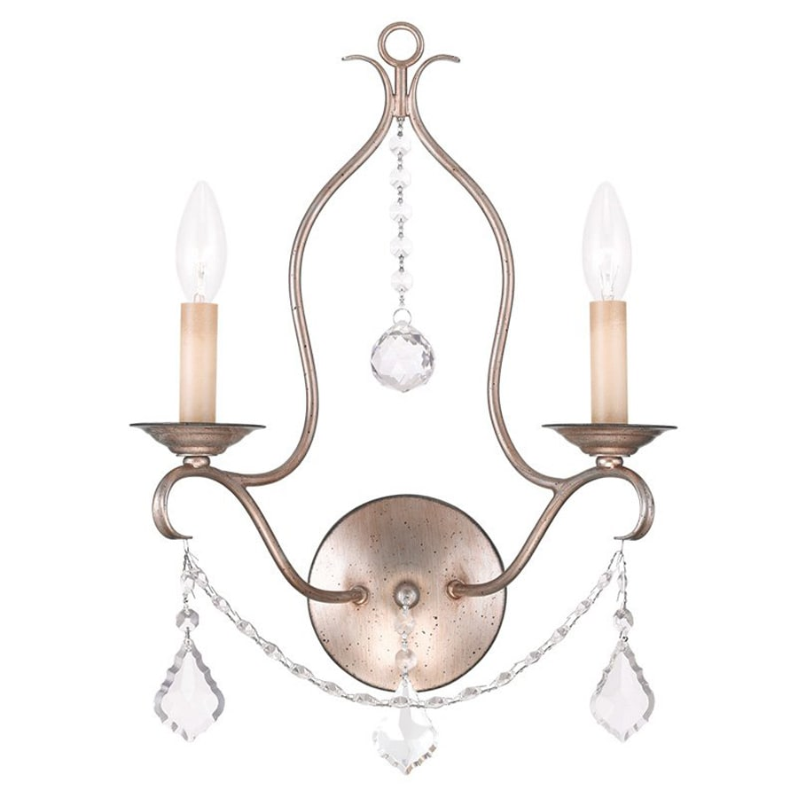 Livex Lighting Chesterfield 12-in W 2-Light Antique silver ... on Silver Wall Sconces For Candles id=45551