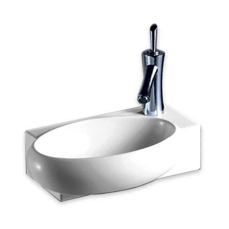 Whitehaus Collection Isabella White Wall Mount Oval Bathroom Sink At