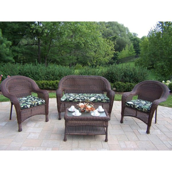 outdoor resin wicker patio furniture sets Shop Oakland Living Resin Wicker 4-Piece Wicker Patio