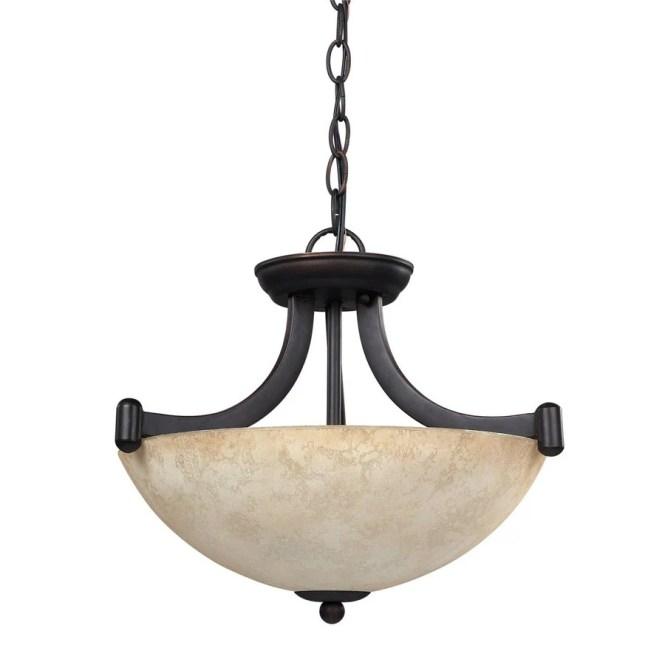 Canarm Warren 14 25 In Oil Rubbed Bronze Craftsman Single Bowl Pendant