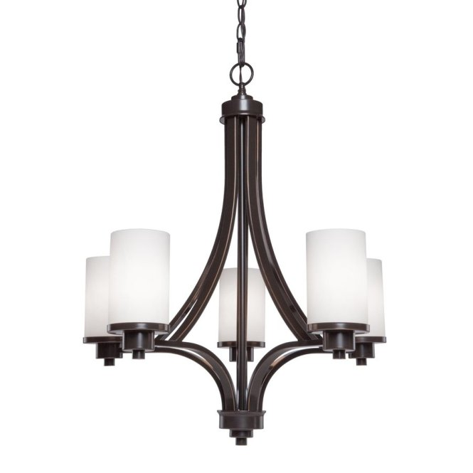 Artcraft Lighting Parkdale 24 In 5 Light Oil Rubbed Bronze Shaded Chandelier