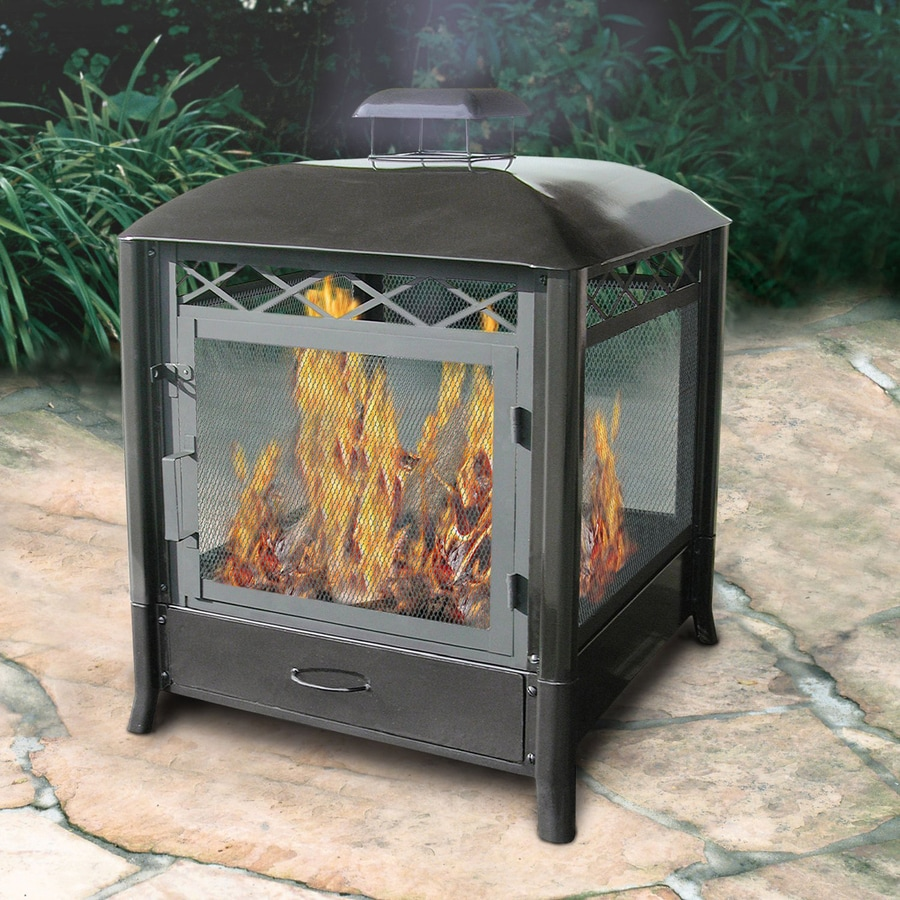 Landmann Usa Black Steel Outdoor Wood Burning Fireplace At
