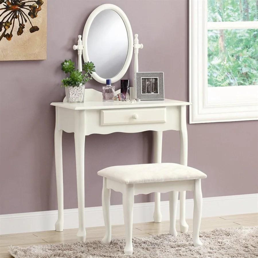Shop Monarch Specialties Antique White Makeup Vanity at ... on Makeup Bedroom  id=80977